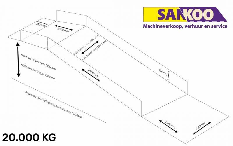 Saurus Laadbrug 20.000kg afmetingen-01